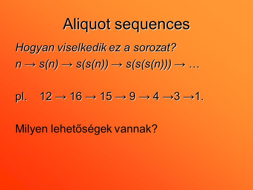 Aliquot sequences Hogyan viselkedik ez a sorozat