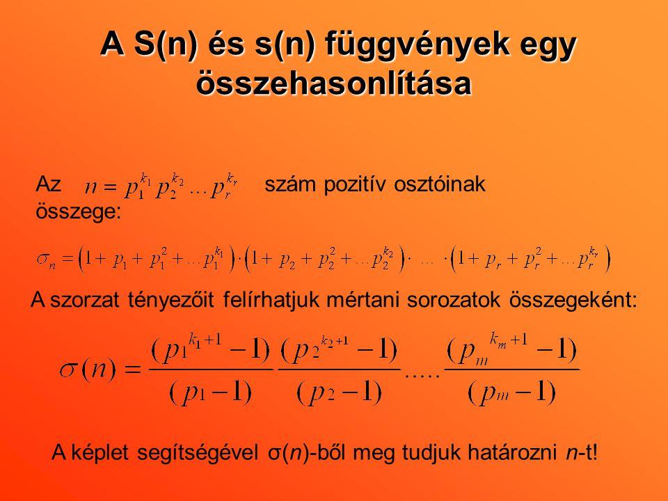 A S(n) és s(n) függvények egy összehasonlítása