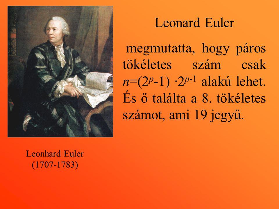 Leonard Euler megmutatta, hogy páros tökéletes szám csak n=(2p-1) ·2p-1 alakú lehet. És ő találta a 8. tökéletes számot, ami 19 jegyű.