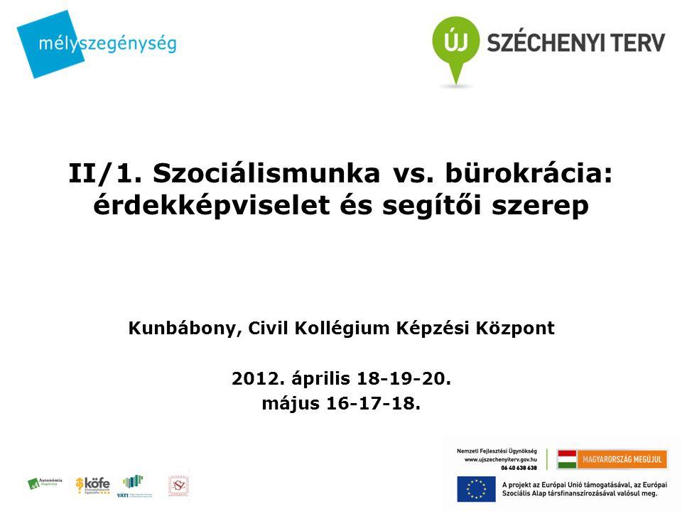 II/1. Szociálismunka vs. bürokrácia: érdekképviselet és segítői szerep