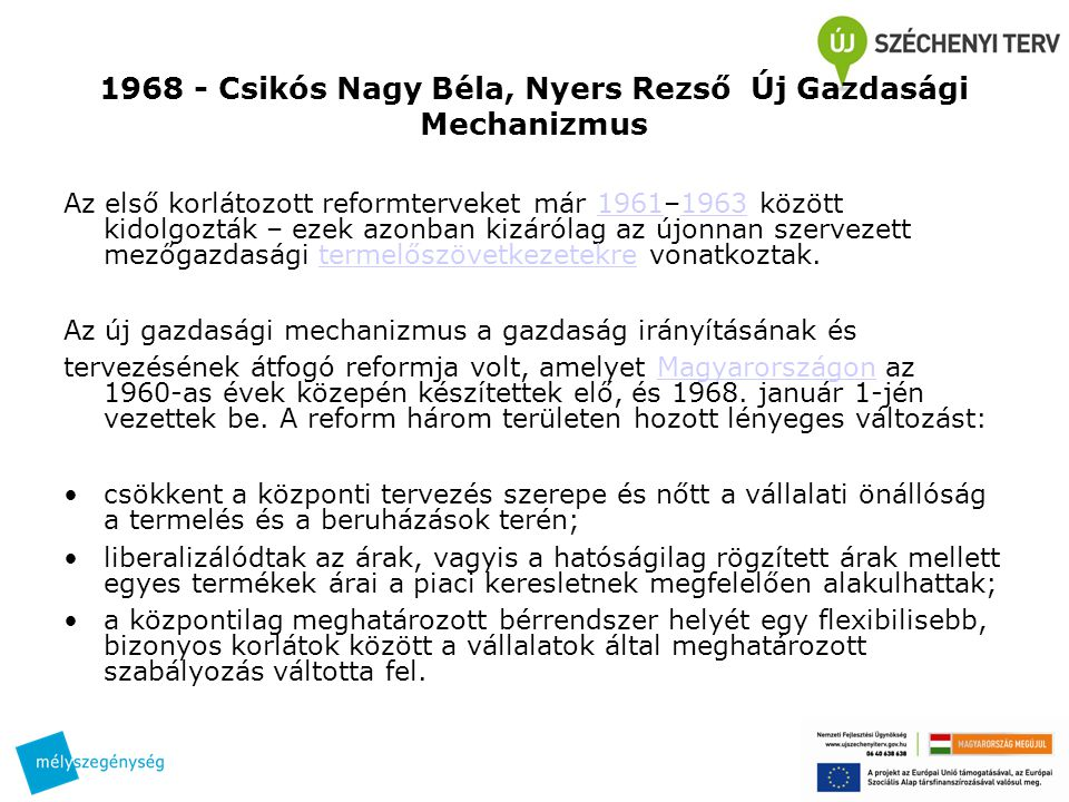 1968 - Csikós Nagy Béla, Nyers Rezső Új Gazdasági Mechanizmus