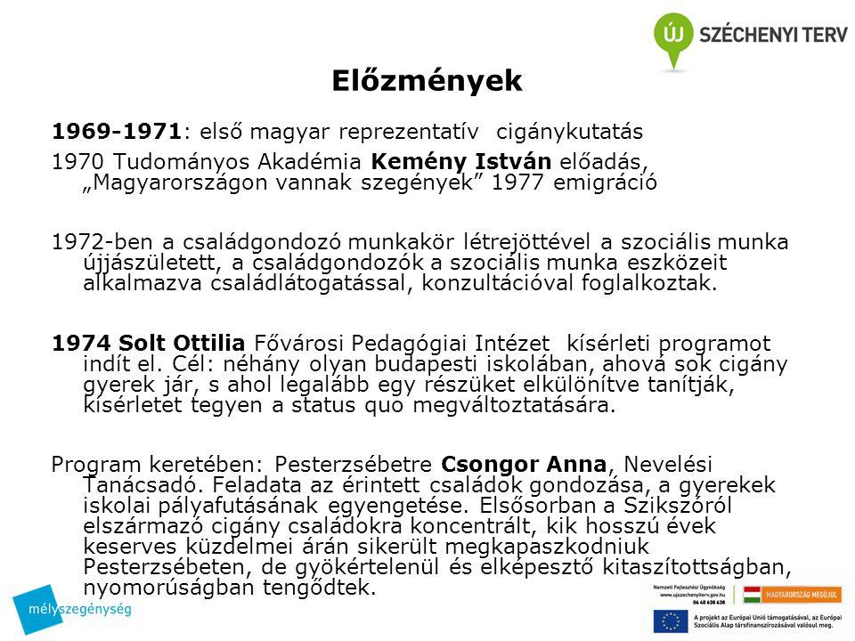Előzmények 1969-1971: első magyar reprezentatív cigánykutatás