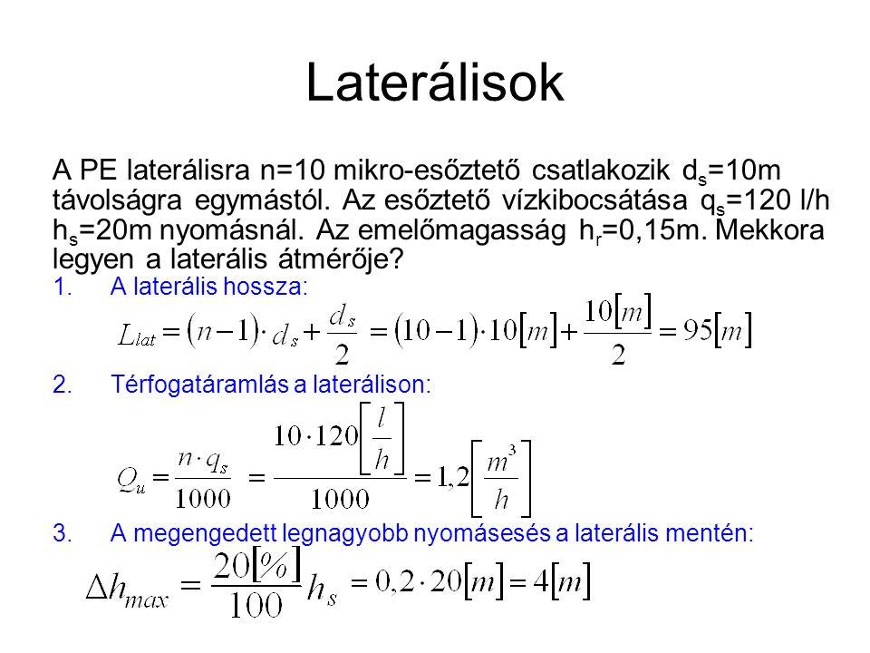 Laterálisok A PE laterálisra n=10 mikro-esőztető csatlakozik ds=10m