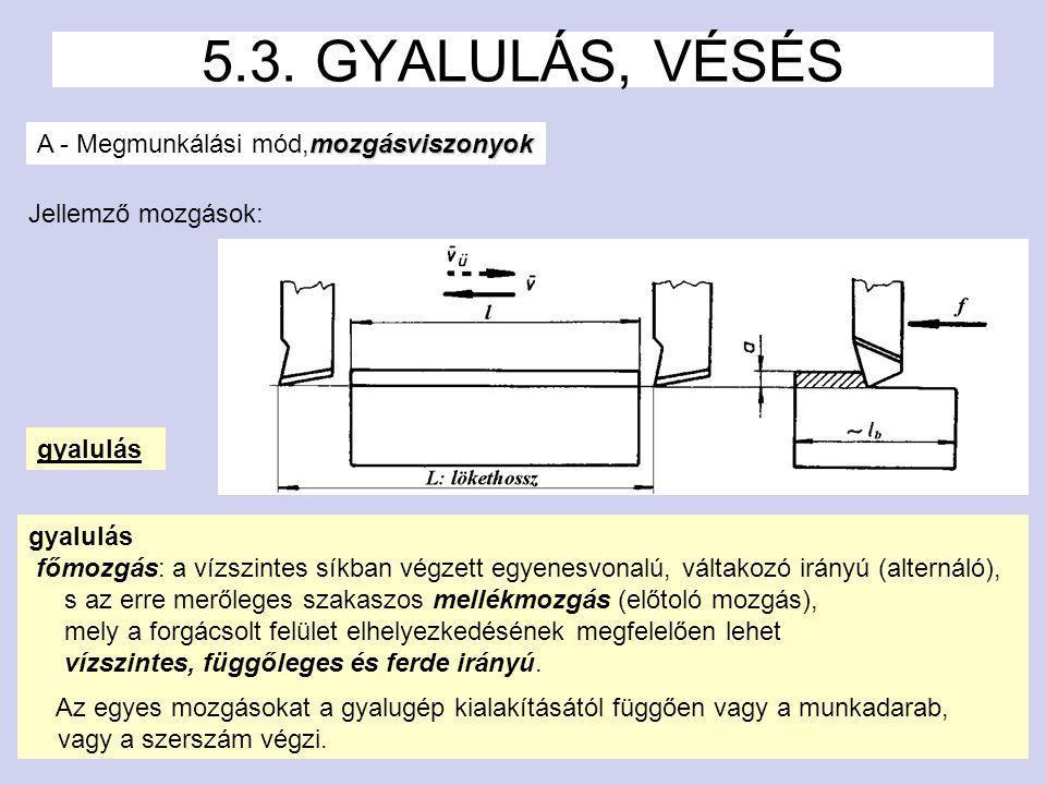 5.3. GYALULÁS, VÉSÉS A - Megmunkálási mód,mozgásviszonyok