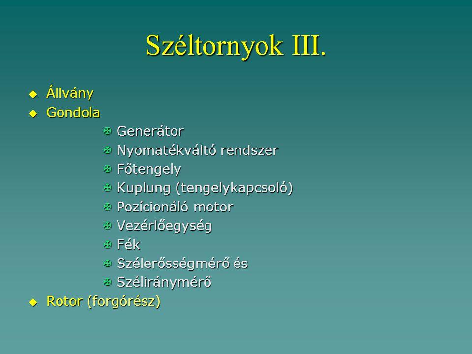 Széltornyok III. Állvány Gondola Generátor Nyomatékváltó rendszer