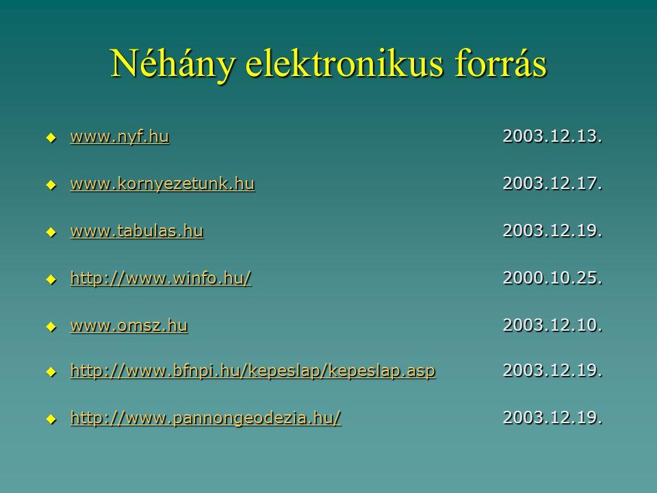 Néhány elektronikus forrás