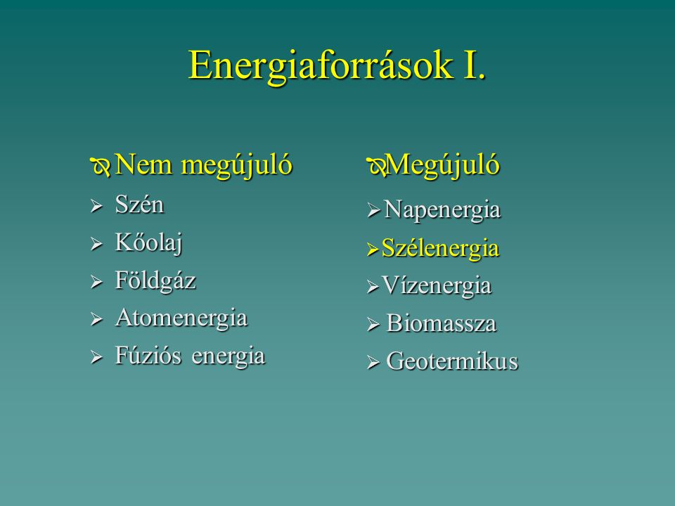 Energiaforrások I. Nem megújuló Megújuló Napenergia Szén Kőolaj