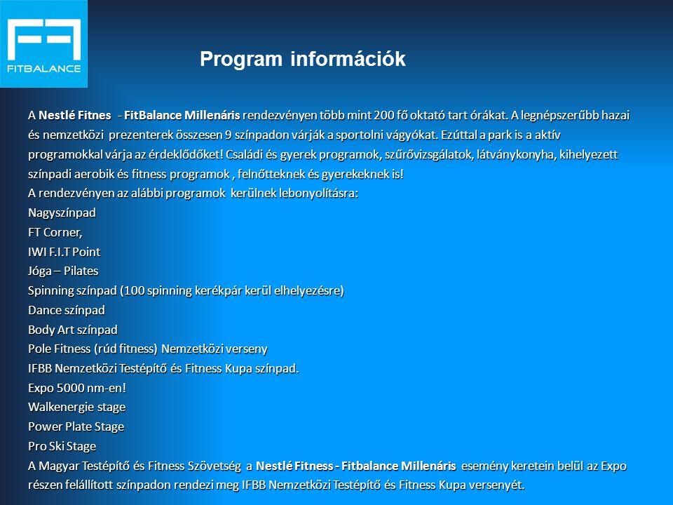 Program információk A Nestlé Fitnes - FitBalance Millenáris rendezvényen több mint 200 fő oktató tart órákat. A legnépszerűbb hazai.