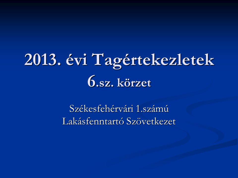 2013. évi Tagértekezletek 6.sz. körzet
