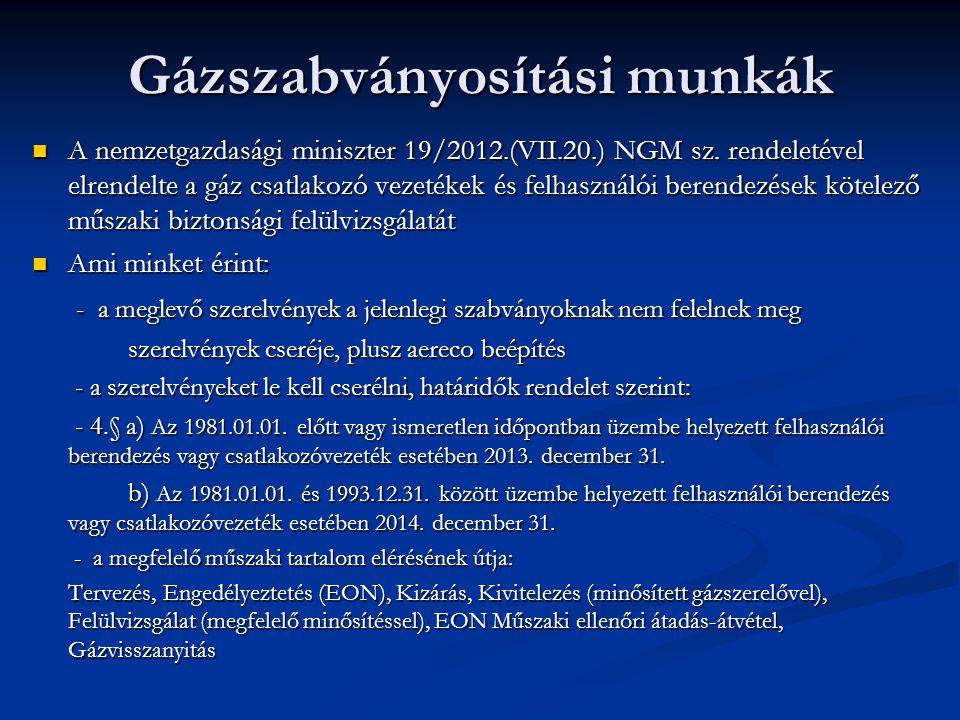 Gázszabványosítási munkák