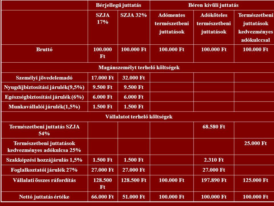 Magánszemélyt terhelő költségek Személyi jövedelemadó 17.000 Ft