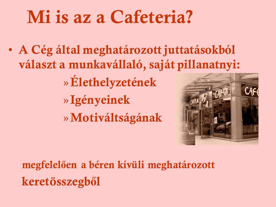 Mi is az a Cafeteria A Cég által meghatározott juttatásokból választ a munkavállaló, saját pillanatnyi: