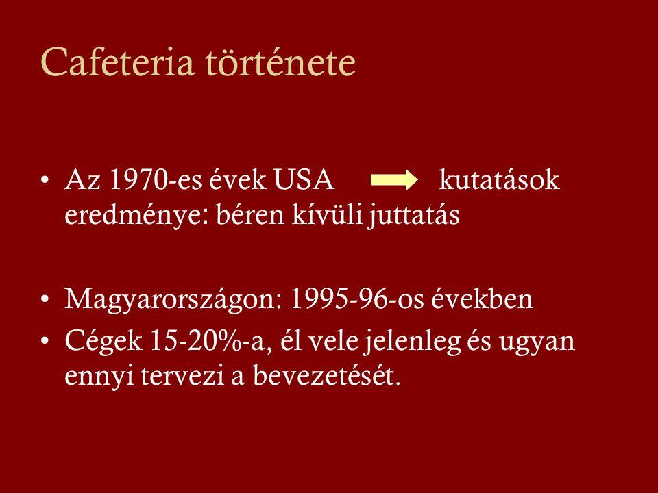 Cafeteria története Az 1970-es évek USA kutatások eredménye: béren kívüli juttatás. Magyarországon: 1995-96-os években.