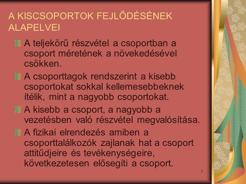 A KISCSOPORTOK FEJLŐDÉSÉNEK ALAPELVEI