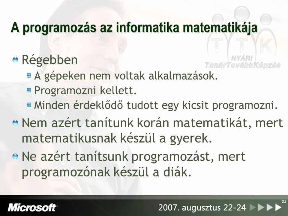 A programozás az informatika matematikája