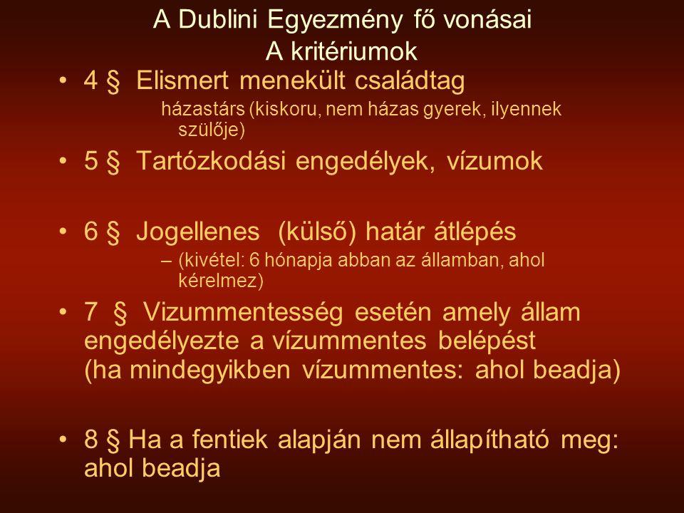 A Dublini Egyezmény fő vonásai A kritériumok