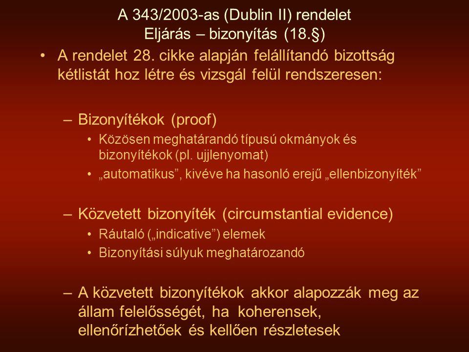 A 343/2003-as (Dublin II) rendelet Eljárás – bizonyítás (18.§)