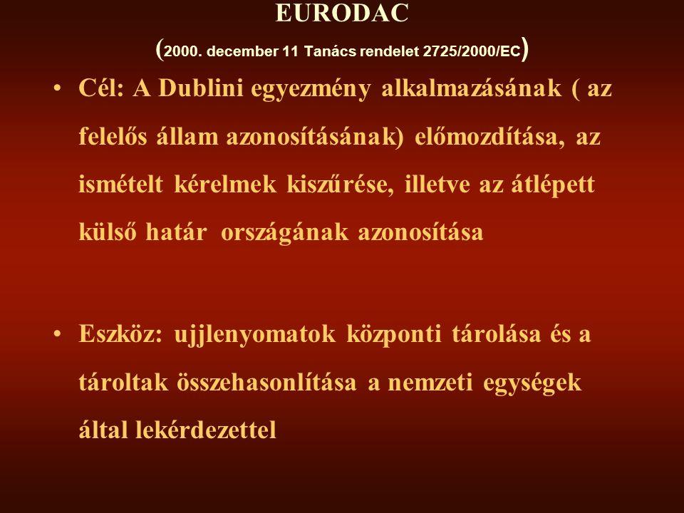 EURODAC (2000. december 11 Tanács rendelet 2725/2000/EC)