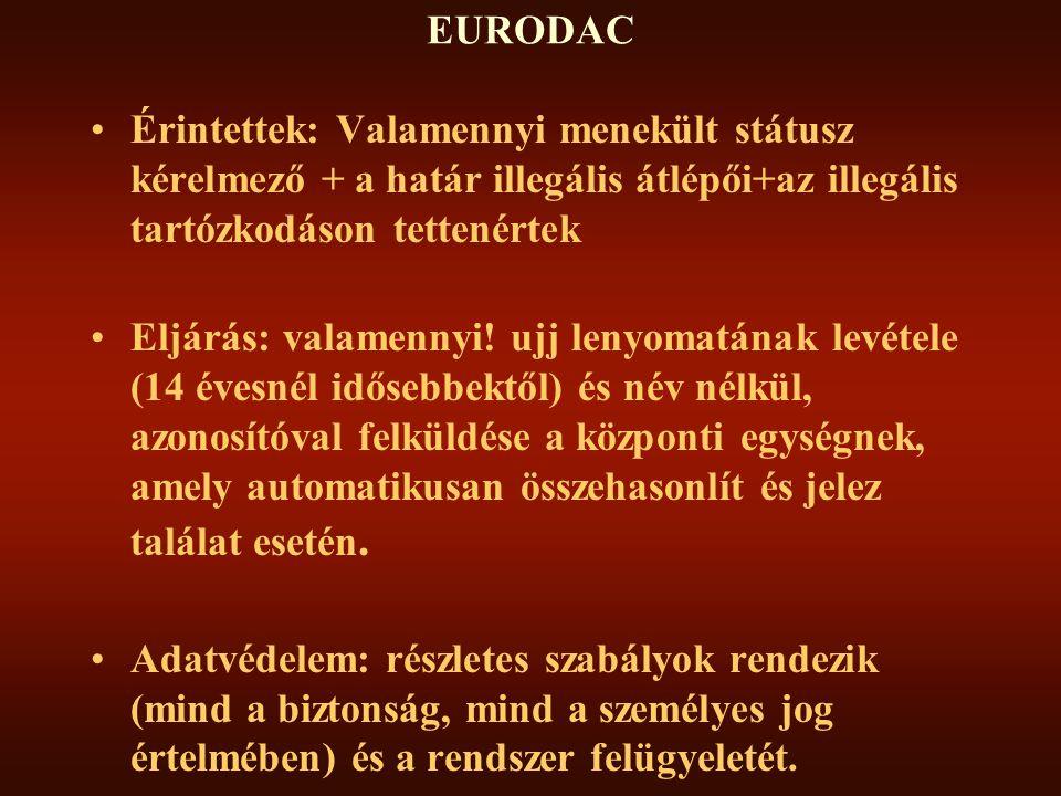 EURODAC Érintettek: Valamennyi menekült státusz kérelmező + a határ illegális átlépői+az illegális tartózkodáson tettenértek.