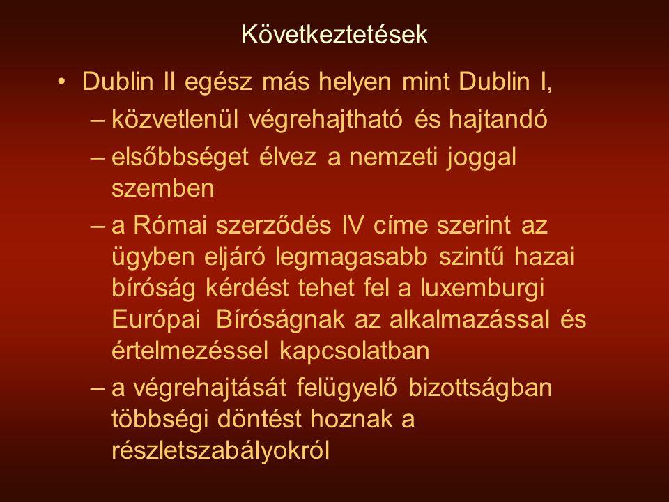 Következtetések Dublin II egész más helyen mint Dublin I, közvetlenül végrehajtható és hajtandó. elsőbbséget élvez a nemzeti joggal szemben.