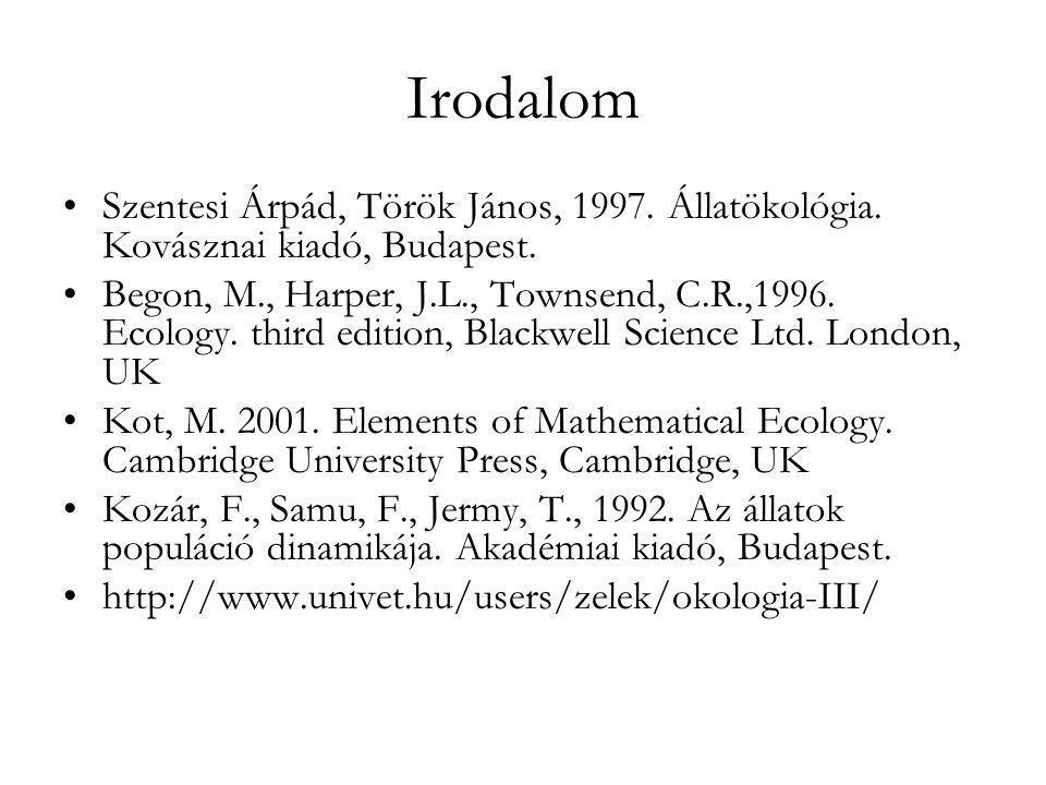 Irodalom Szentesi Árpád, Török János, 1997. Állatökológia. Kovásznai kiadó, Budapest.