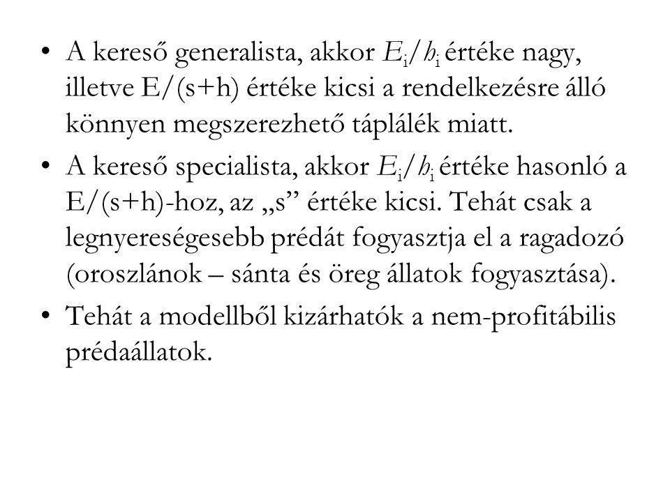 A kereső generalista, akkor Ei/hi értéke nagy, illetve E/(s+h) értéke kicsi a rendelkezésre álló könnyen megszerezhető táplálék miatt.