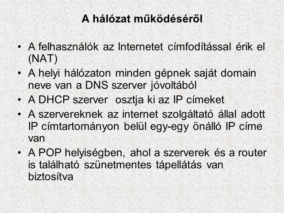 A hálózat működéséről A felhasználók az Internetet címfodítással érik el (NAT)