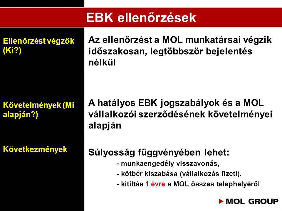 EBK ellenőrzések Az ellenőrzést a MOL munkatársai végzik időszakosan, legtöbbször bejelentés nélkül.