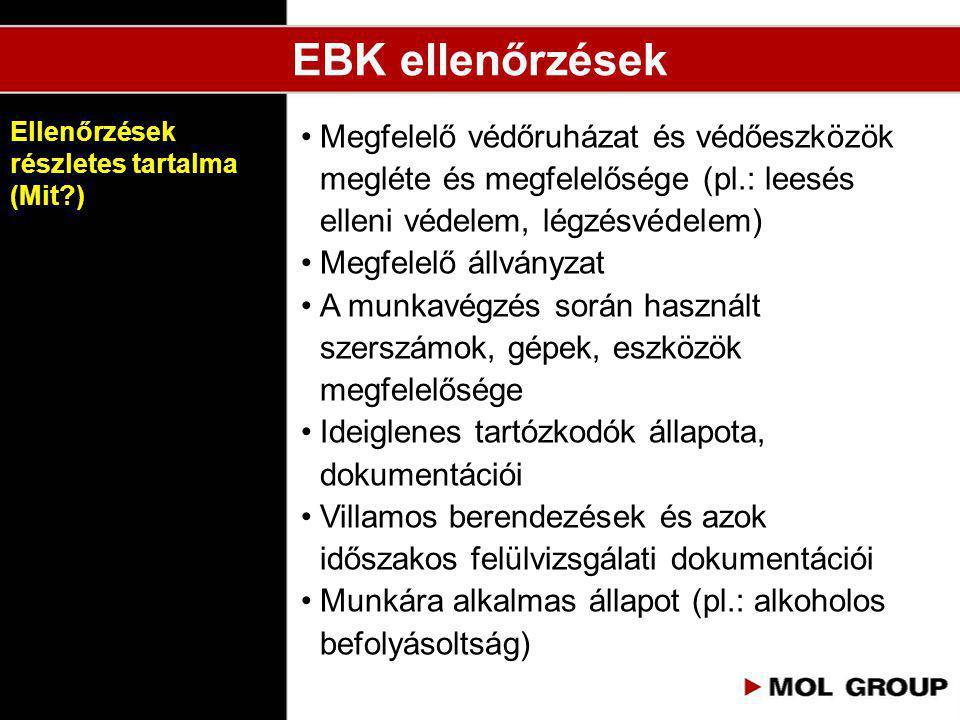 EBK ellenőrzések Ellenőrzések részletes tartalma (Mit )