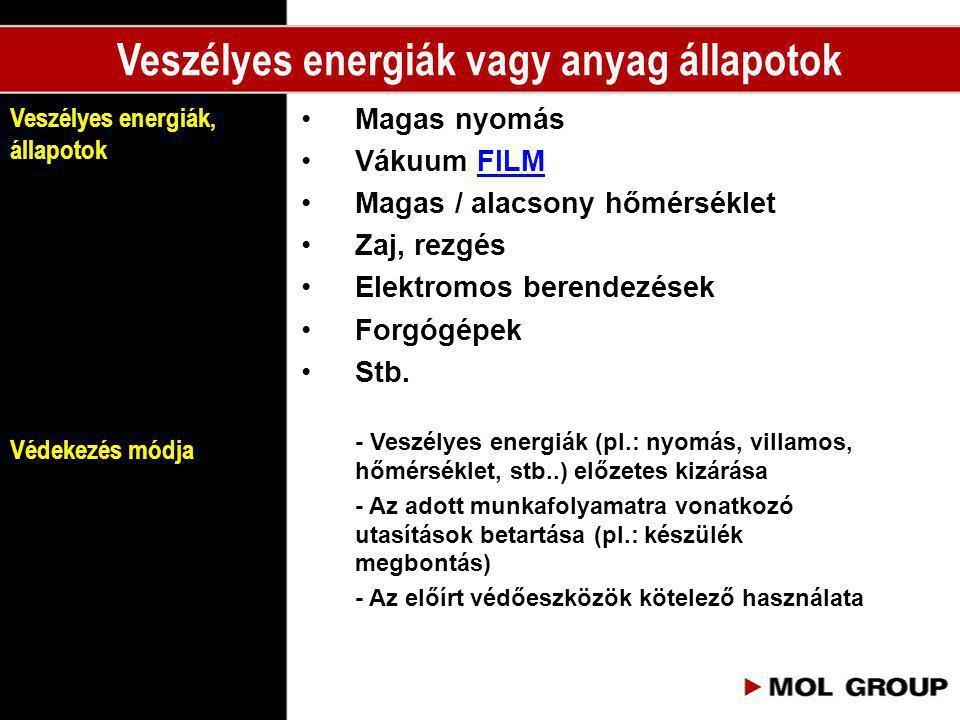 Veszélyes energiák vagy anyag állapotok