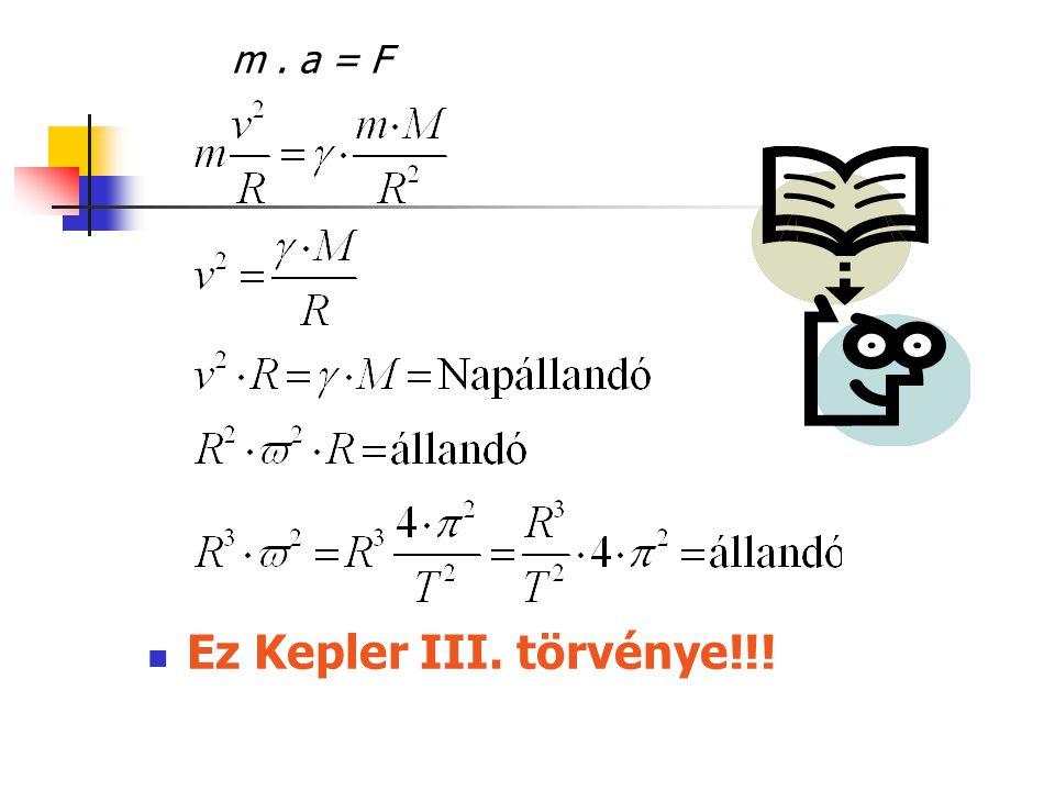 m . a = F Ez Kepler III. törvénye!!!