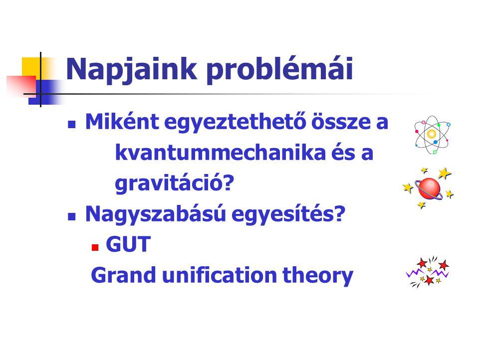 Napjaink problémái Miként egyeztethető össze a kvantummechanika és a