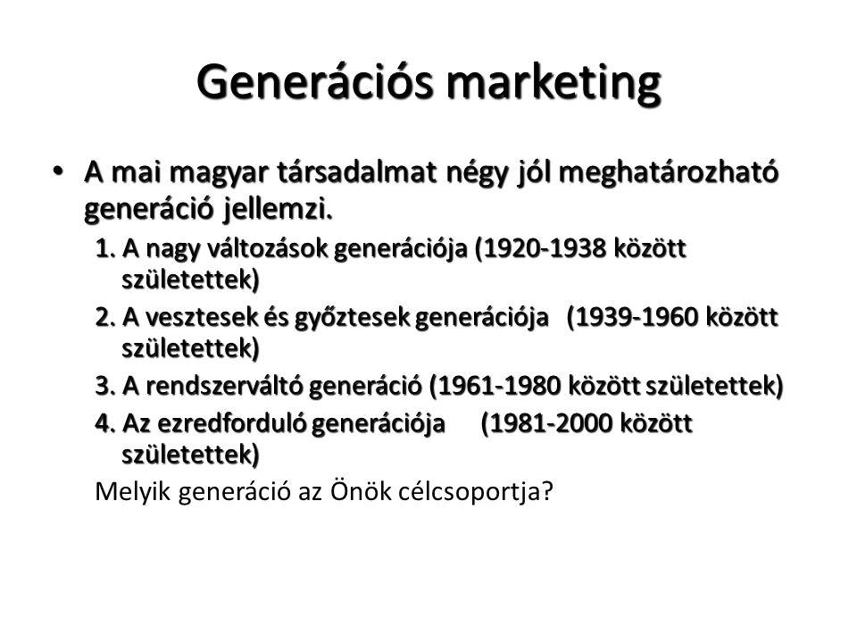 Generációs marketing A mai magyar társadalmat négy jól meghatározható generáció jellemzi.