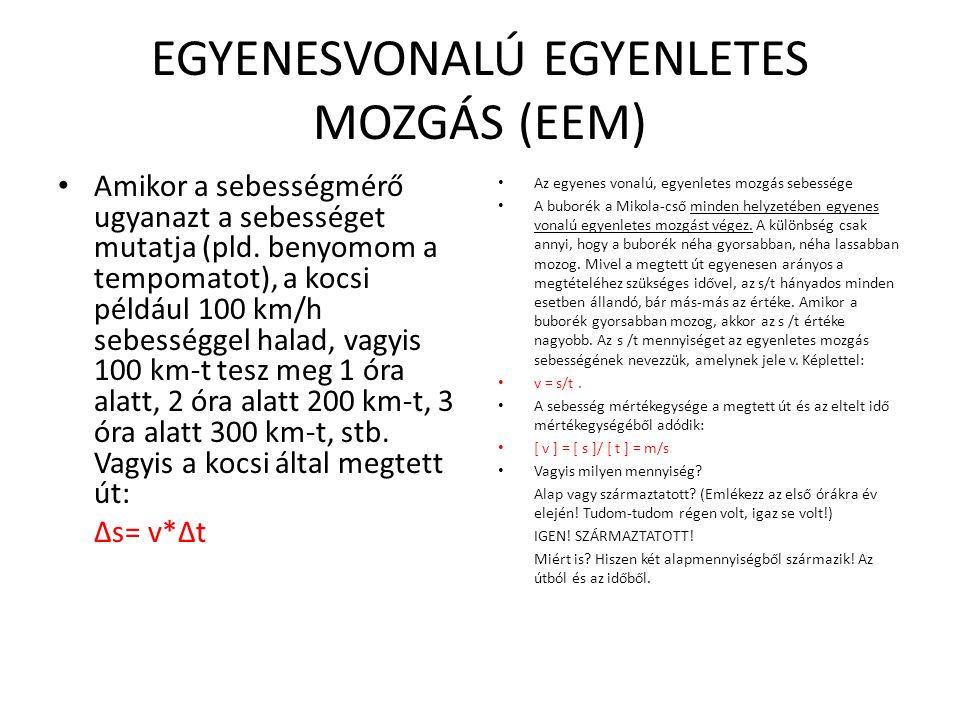 EGYENESVONALÚ EGYENLETES MOZGÁS (EEM)