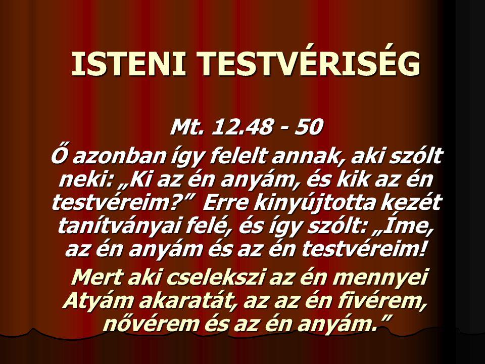 ISTENI TESTVÉRISÉG Mt. 12.48 - 50
