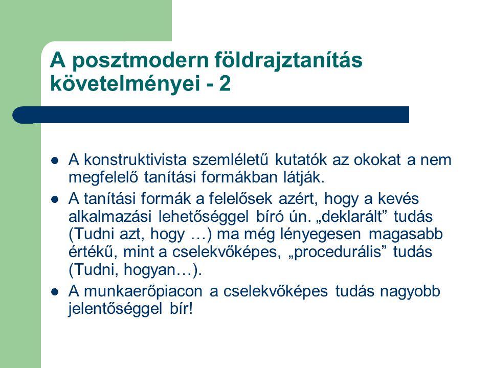 A posztmodern földrajztanítás követelményei - 2