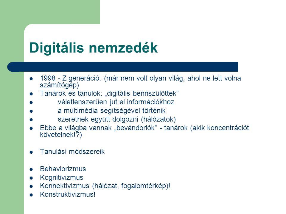 """Digitális nemzedék 1998 - Z generáció: (már nem volt olyan világ, ahol ne lett volna számítógép) Tanárok és tanulók: """"digitális bennszülöttek"""