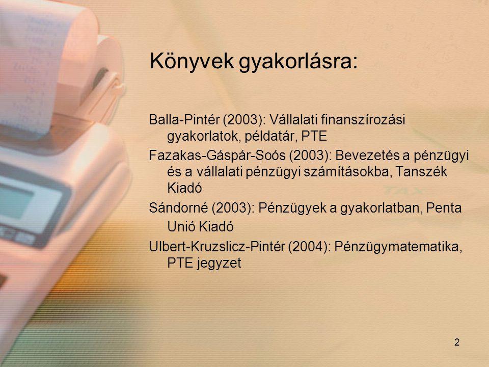 Könyvek gyakorlásra: Balla-Pintér (2003): Vállalati finanszírozási gyakorlatok, példatár, PTE.