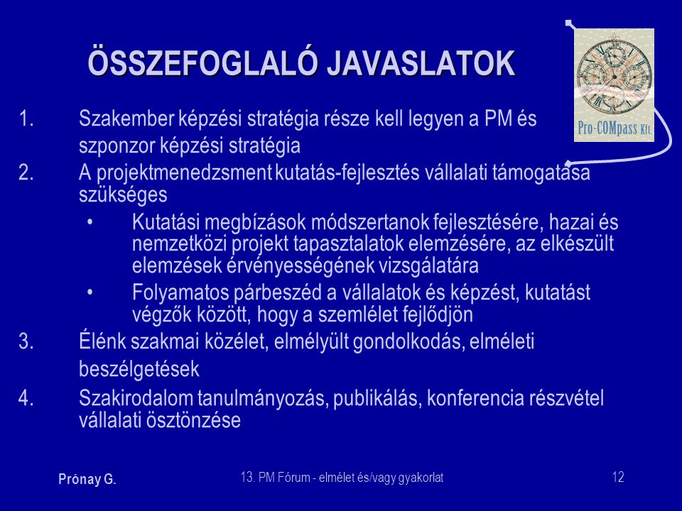 ÖSSZEFOGLALÓ JAVASLATOK