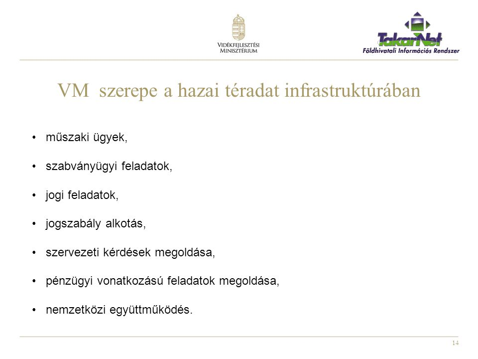 VM szerepe a hazai téradat infrastruktúrában