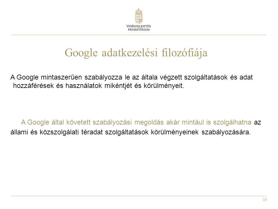 Google adatkezelési filozófiája