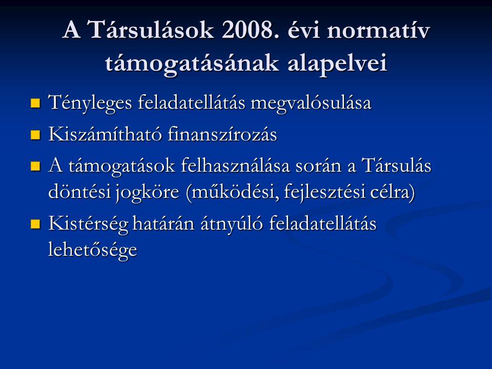 A Társulások 2008. évi normatív támogatásának alapelvei