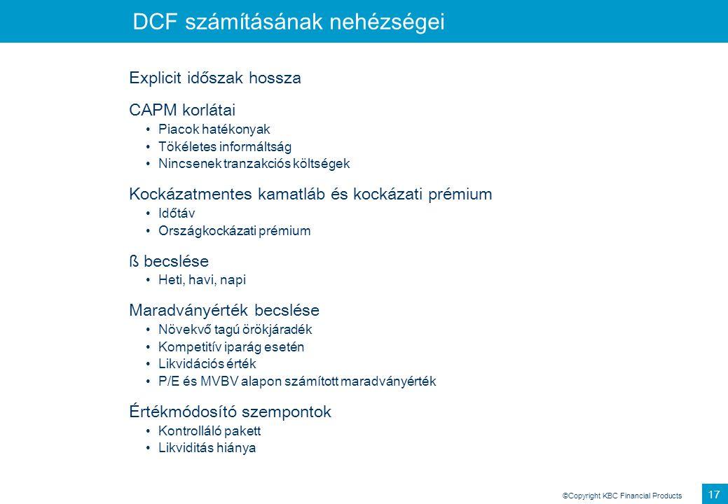 DCF számításának nehézségei