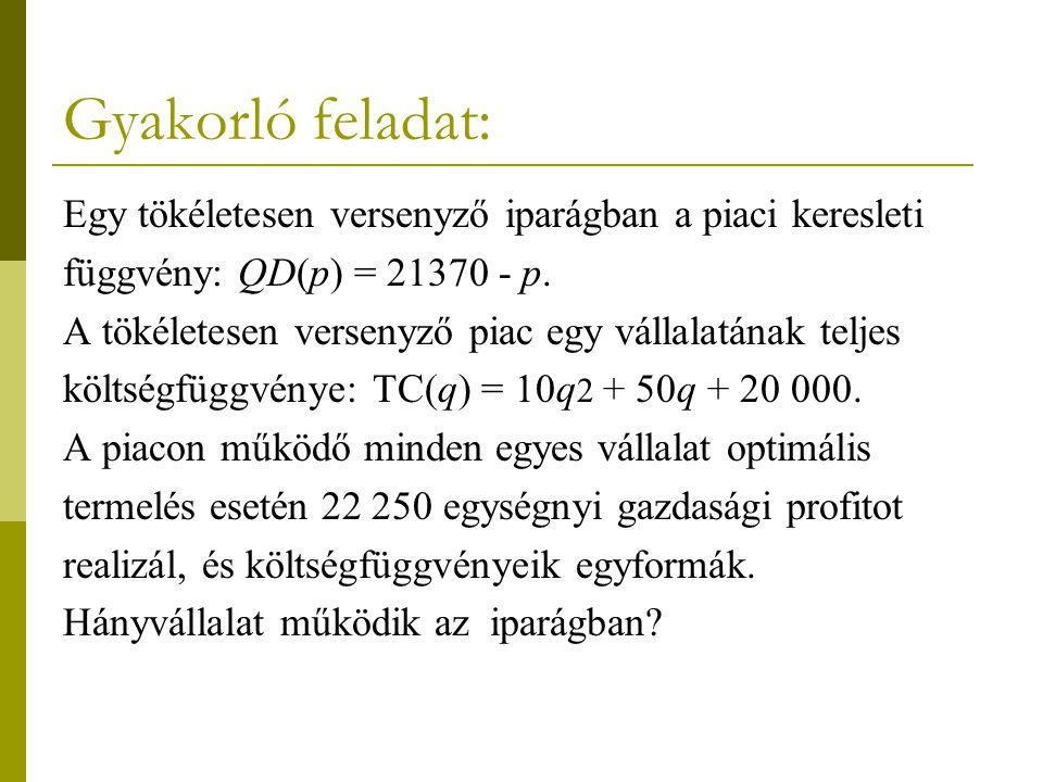 Gyakorló feladat: Egy tökéletesen versenyző iparágban a piaci keresleti. függvény: QD(p) = 21370 - p.