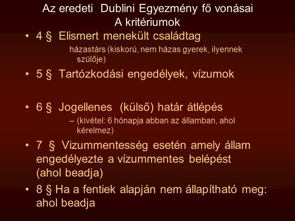 Az eredeti Dublini Egyezmény fő vonásai A kritériumok