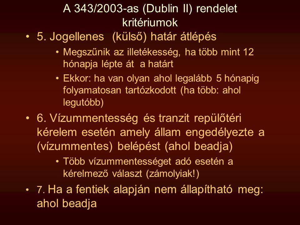 A 343/2003-as (Dublin II) rendelet kritériumok