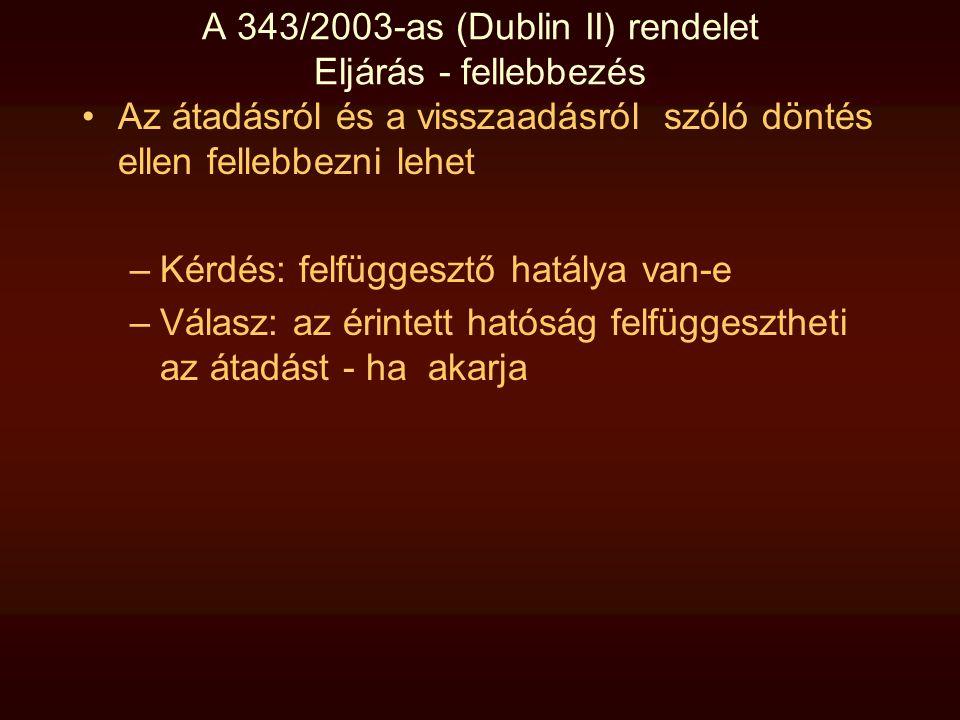 A 343/2003-as (Dublin II) rendelet Eljárás - fellebbezés