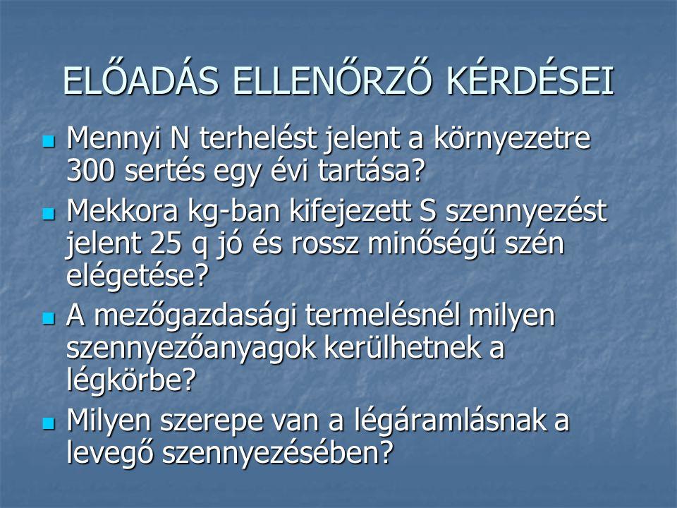 ELŐADÁS ELLENŐRZŐ KÉRDÉSEI