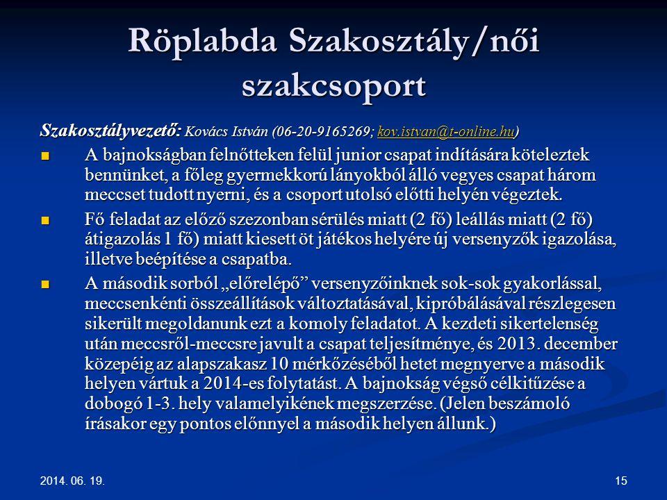 Röplabda Szakosztály/női szakcsoport