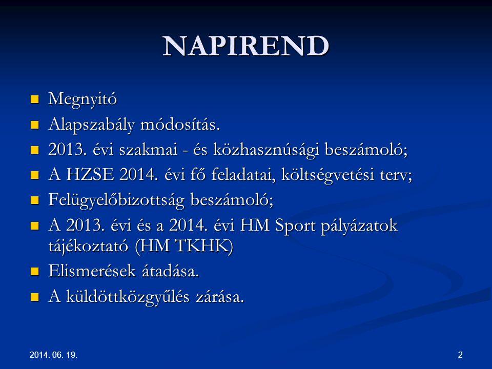 NAPIREND Megnyitó Alapszabály módosítás.